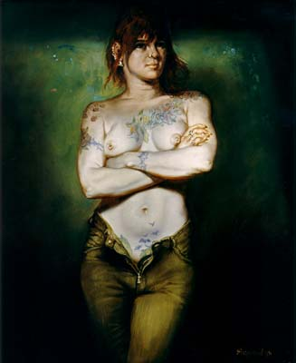 "Girl with Tattoos Oil on Board Image size - 20"" x 24"""